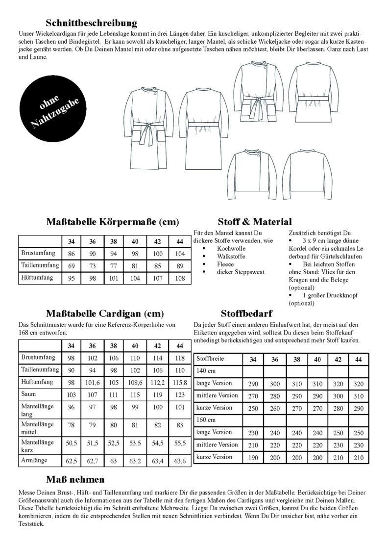 Schnittduett Schnittmuster Cardigan Wrapped - Wickel Cardigan Schnittmuster - Wir bieten moderne Schnittmuster für Damen