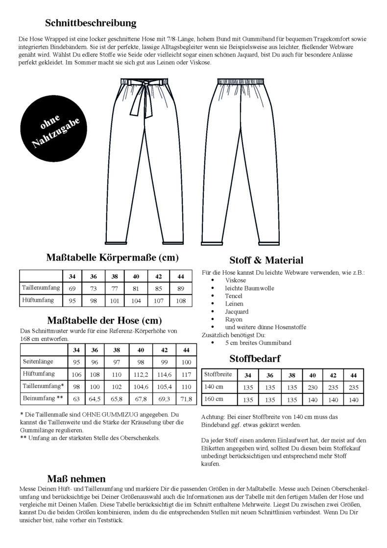 Schnittduett Hose Wrapped - Hose mit Schleife um den Bund Schnittmuster - Wir bieten moderne Schnittmuster für Damen
