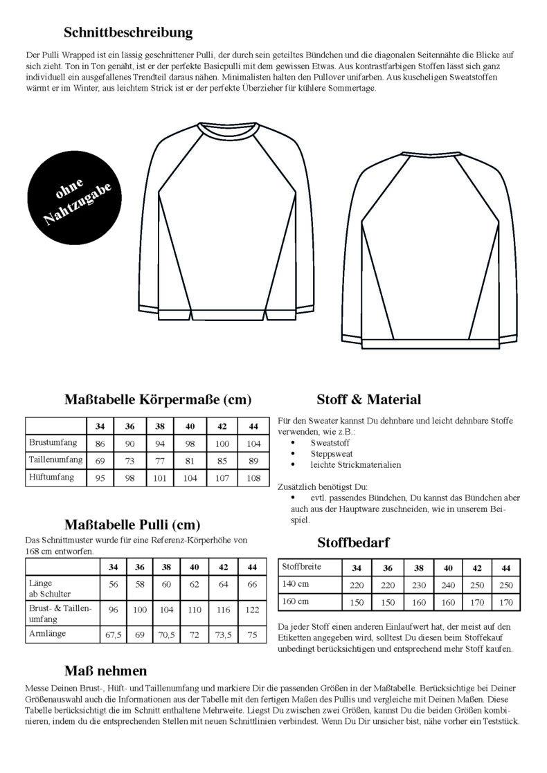 Schnittduett Sweater Wrapped - Raglan Sweater Schnittmuster - Wir bieten moderne Schnittmuster für Damen
