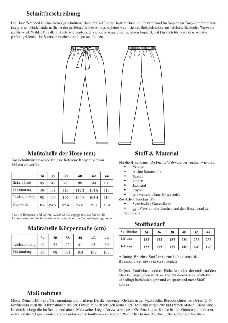 Schnittduett Hose Wrapped - 7/8 Hose Schnittmuster - Wir bieten moderne Schnittmuster für Damen
