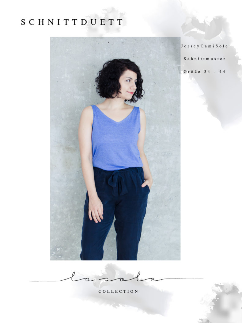 Tanktop nähen mit Nähanleitung: Schnittmuster Tanktop JerseyCamisole mit V-Ausschnitt - Schnittduett - Moderne Schnittmuster für Damen, die feminine Mode lieben
