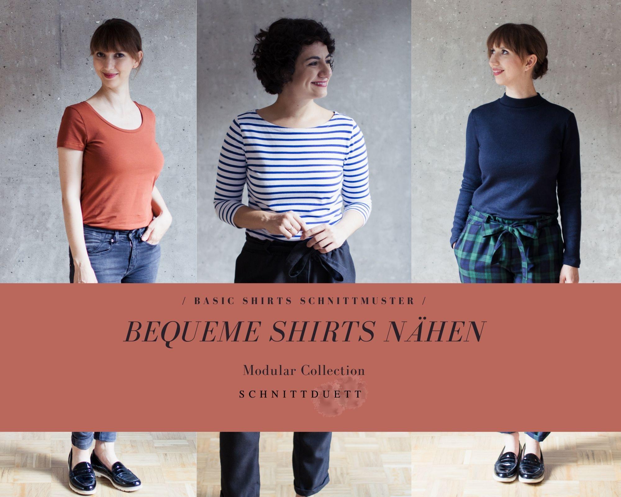Bequeme Shirts nähen aus Jersey - Schnittduett moderne Schnittmuster für Damen