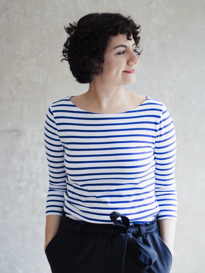 Nähanleitung Shirt nähen: Schnittmuster U-Boot-Ausschnitt Shirt Damen Modular Collection - Schnittduett - Moderne Schnittmuster für Frauen