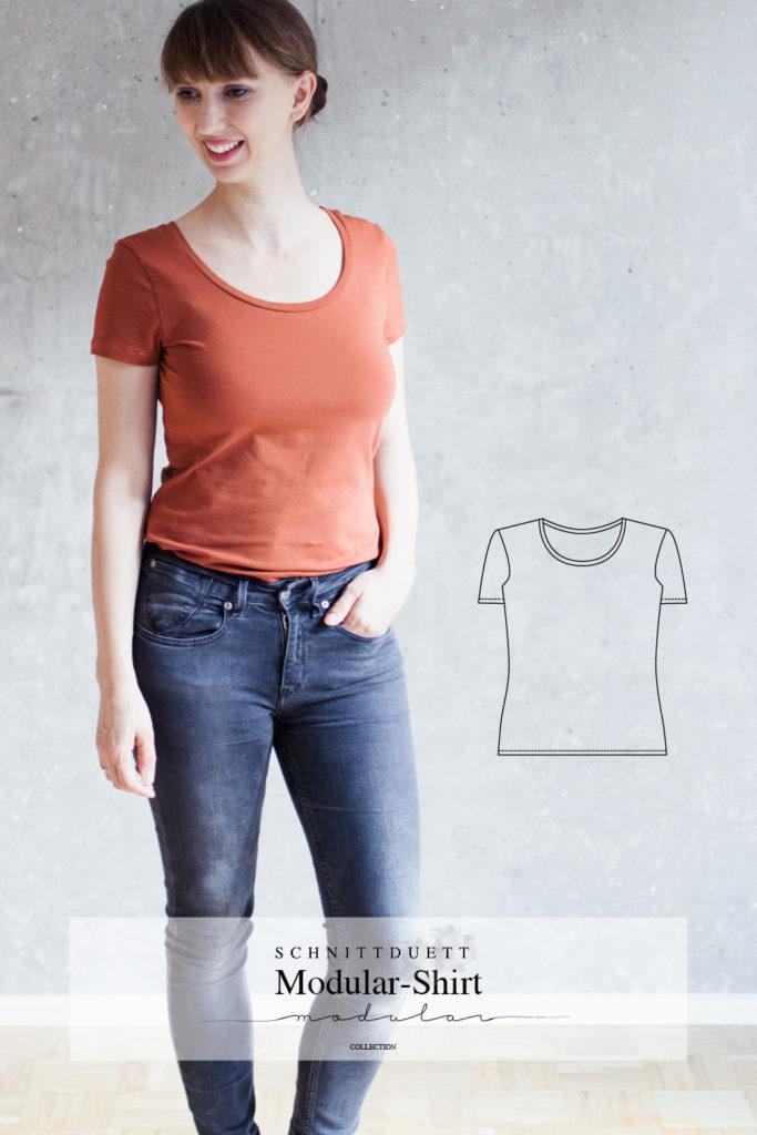 Schnittmuster T-Shirt und Minikleid Modular Collection - Schnittduett - Moderne Schnittmuster für Damen, die minimalistische Mode lieben