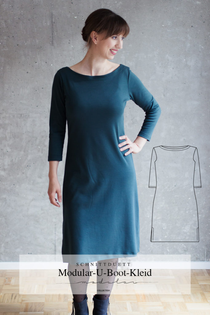 Schnittmuster Kleid Damen mit U-Boot Ausschnisst - Modular Collection - Schnittduett - Moderne Schnittmuster für Damen, die minimalistische Mode lieben