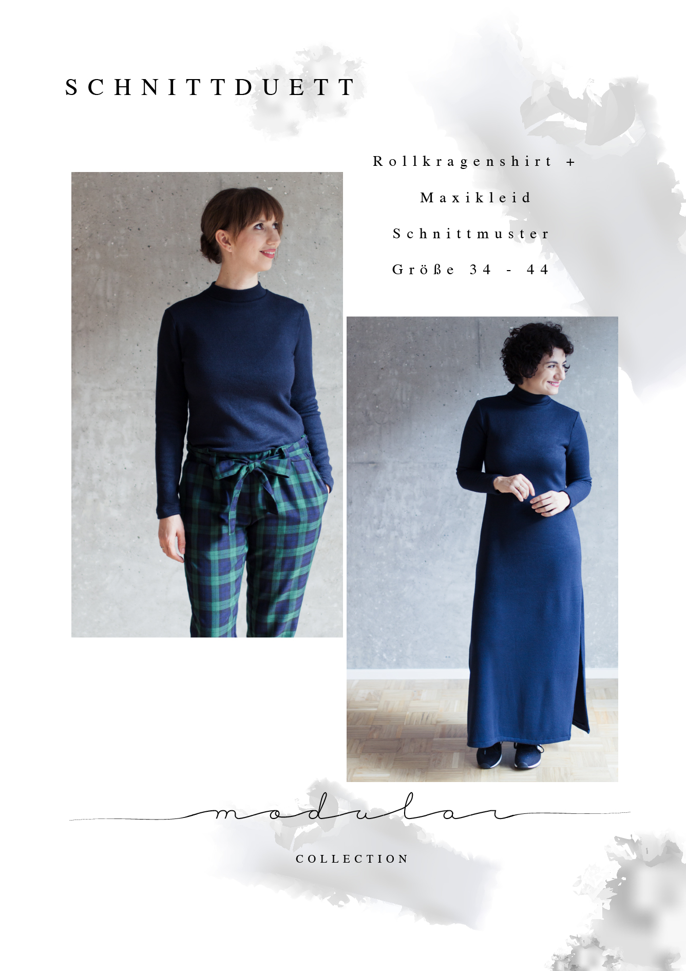 Schnittmuster Rollkragenpullover und Maxikleid Modular Collection - Schnittduett - Moderne Schnittmuster für Frauen, die minimalistische Mode lieben