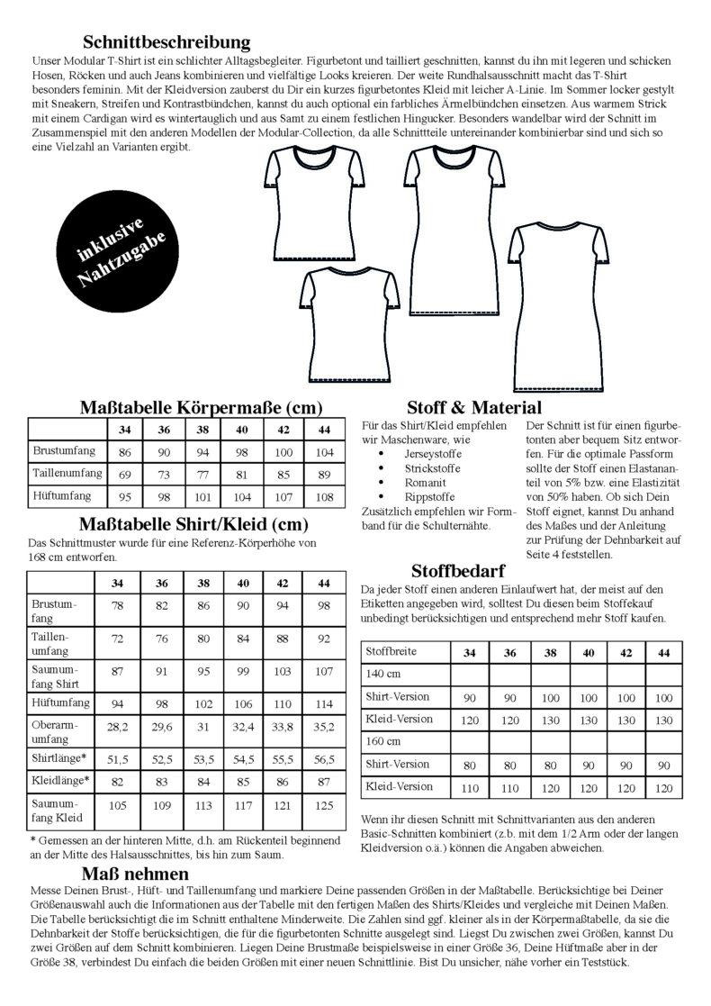T-Shirt und Minikleid Modular Collection - Schnittduett - Moderne Schnittmuster für Damen, die minimalistische Mode lieben