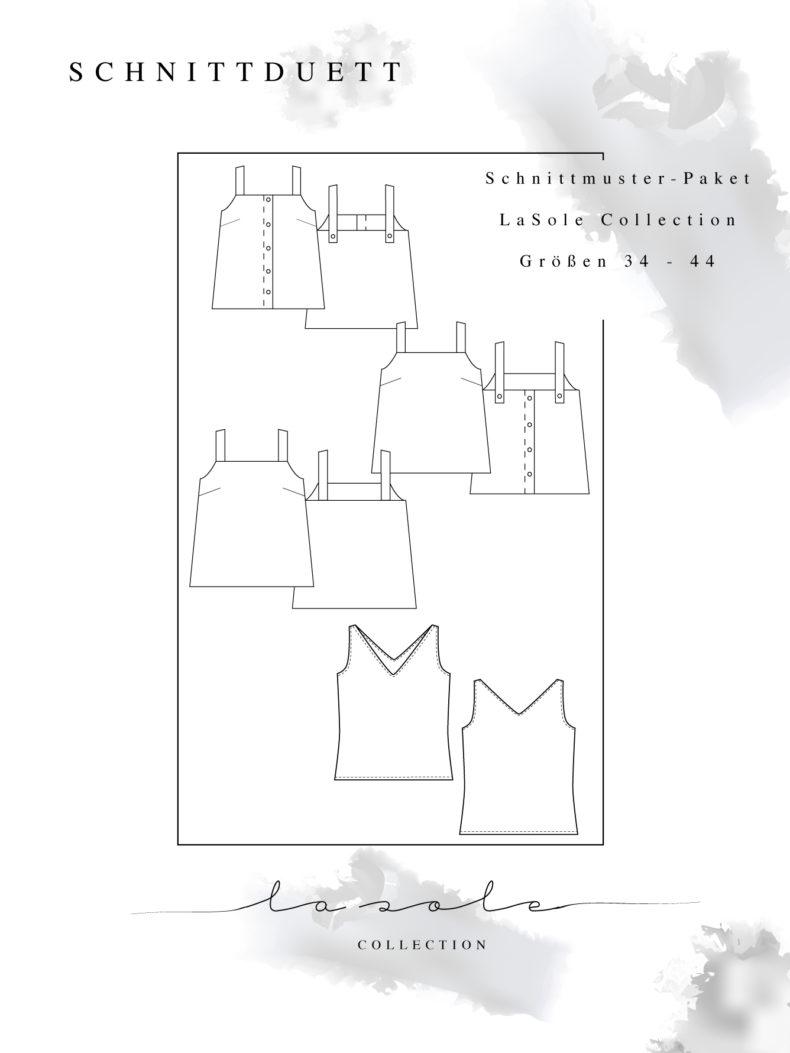 """Gesamtkollektion La Sole - Schnittmuster Tops Damen: Schnittmuster Tanktop JerseyCamisole mit V-Ausschnitt und Top """"LaSoleCami"""" mit breiten Trägern - Schnittduett"""