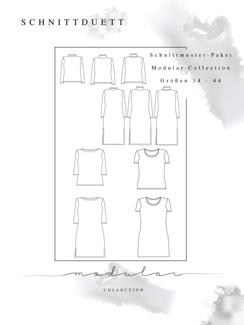 Schnittmuster Shirts Damen im Set: Modular Collection - Schnittduett - Schnittmuster Rollkragenpullover, U-Boot-Shirt und T-Shirt - Moderne Schnittmuster für Frauen, die minimalistische Mode lieben