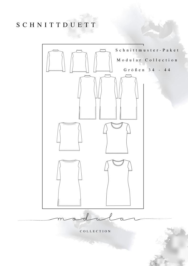Gesamtpaket Modular Collection - Schnittduett - Schnittmuster Rollkragenpulli, U-Boot-Shirt und T-Shirt - Moderne Schnittmuster für Frauen, die minimalistische Mode lieben