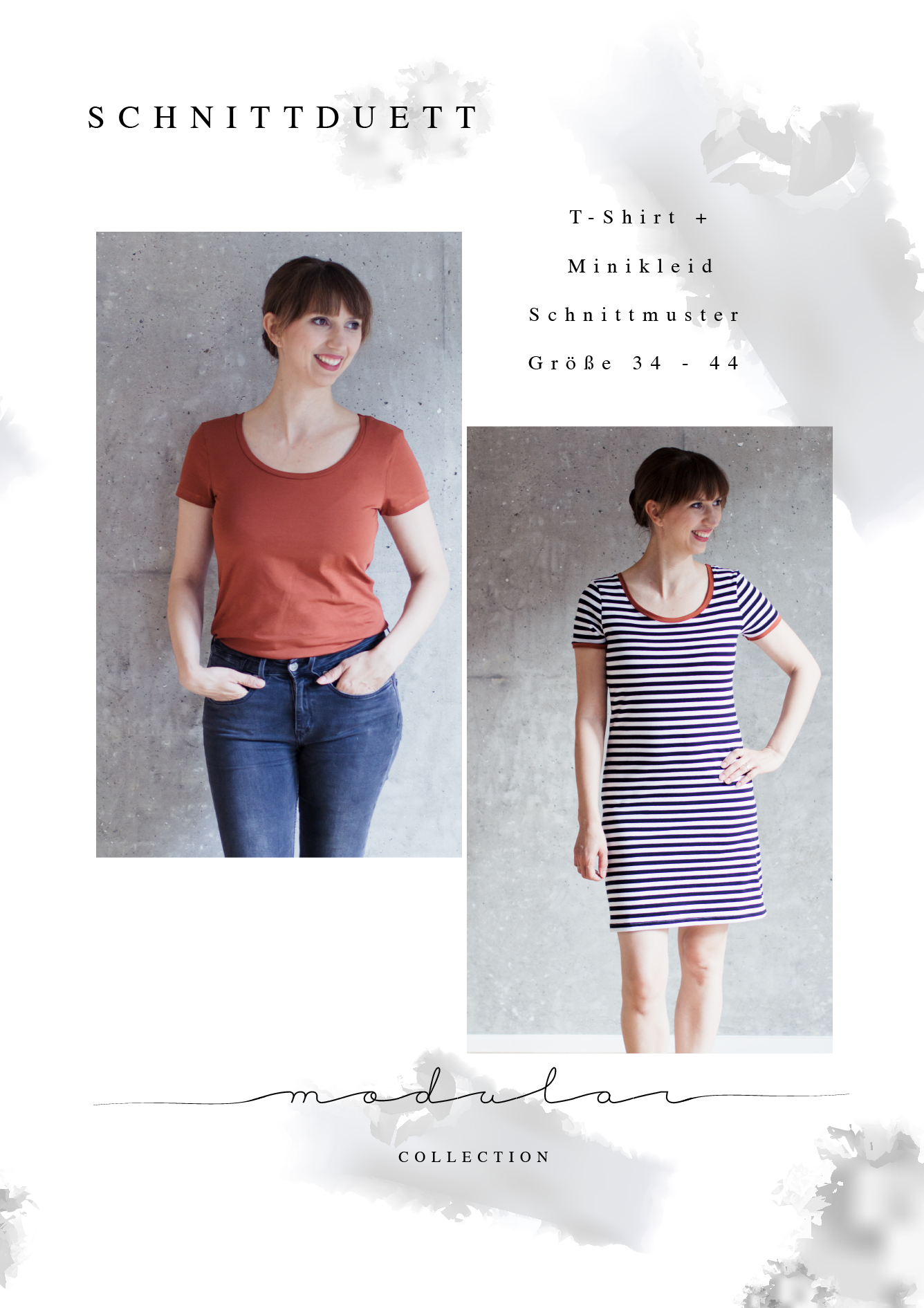 Klassisches T-Shirt und Shirt-Kleid nähen mit Schritt-für-Schritt Nähanleitung: Das Schnittmuster T-Shirt Damen und Minikleid der Modular Collection - Schnittduett - Moderne Schnittmuster für Frauen, die minimalistische Mode lieben