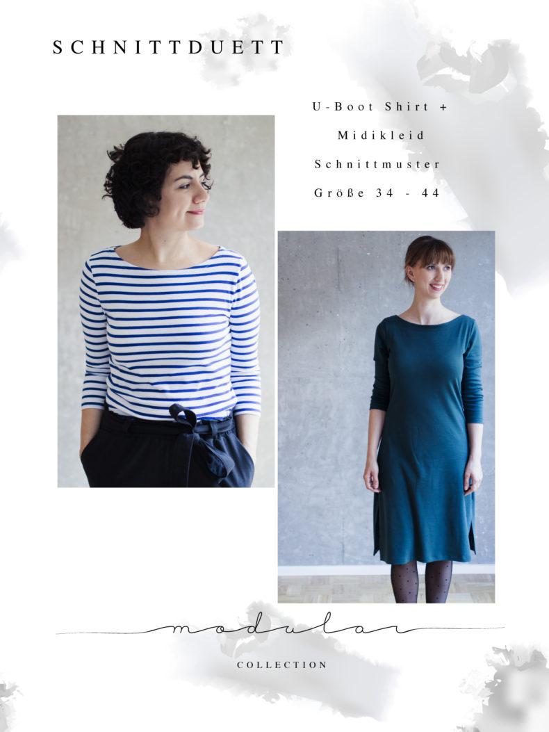Nähanleitung Shirt nähen und Schnittmuster U-Boot-Ausschnitt Shirt Damen Midikleid Modular Collection - Schnittduett - Moderne Schnittmuster für Frauen