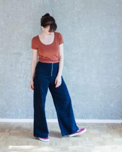 Hose Nähen mit Nähanleitung: Schnittmuster High Waist Hose und Shorts Lola mit weiten Beinen - Schnittduett - Moderne Schnittmuster für Damen