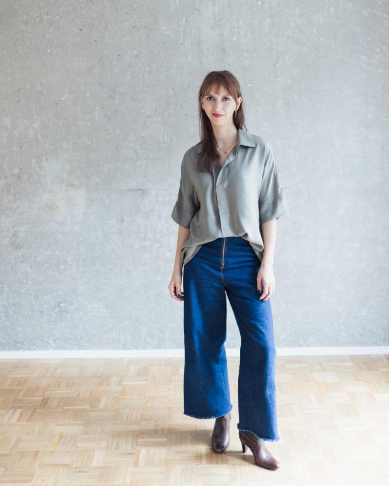 Schnittmuster High Waist Hose Lola aus Jeans cropped mit weiten Beinen - Schnittduett - Moderne Schnittmuster für Damen