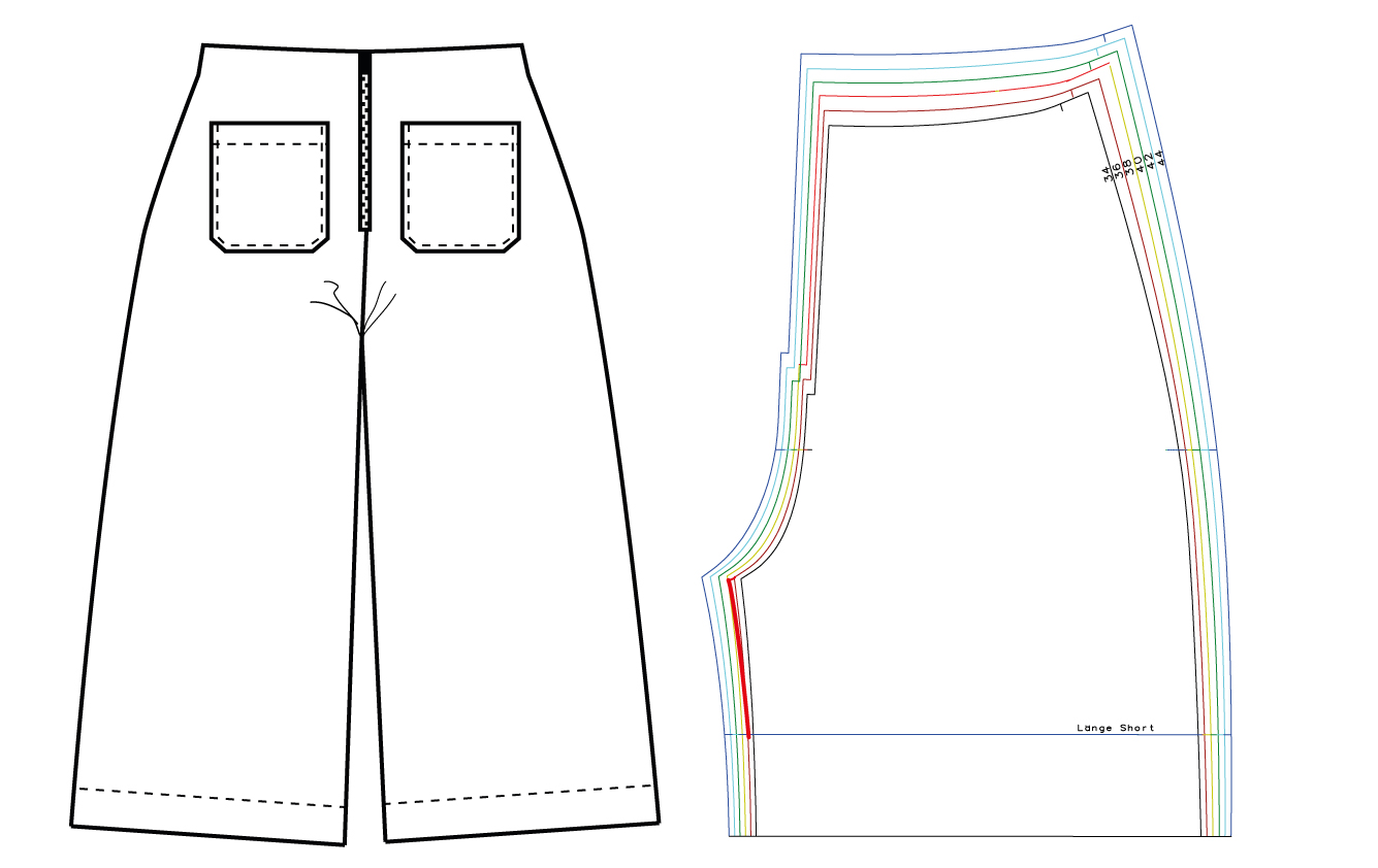 Hosenschnittmuster anpassen: Schrittweite vergrößern - Schnittduett - Moderne Schnittmuster für Damen