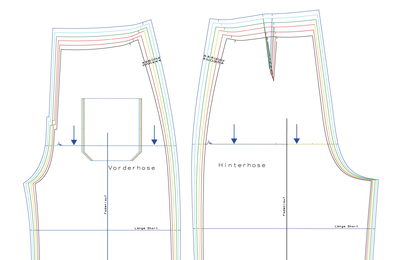Hosenschnittmuster anpassen: Schritthöhe verkürzen am Schnittmuster der Hose Lola - Schnittduett - Moderne Schnittmuster für Damen