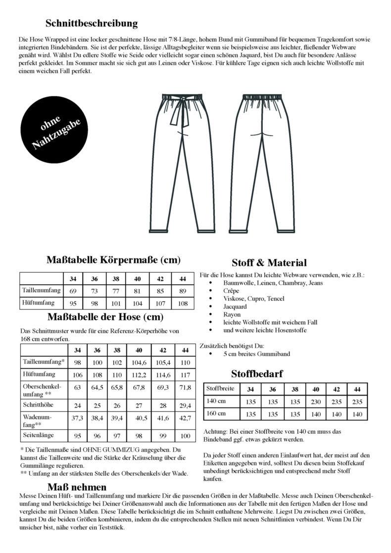 Schnittduett Schnittmuster Hose Wrapped - 7/8 Hose Schnittmuster - Wir bieten moderne Schnittmuster für Damen