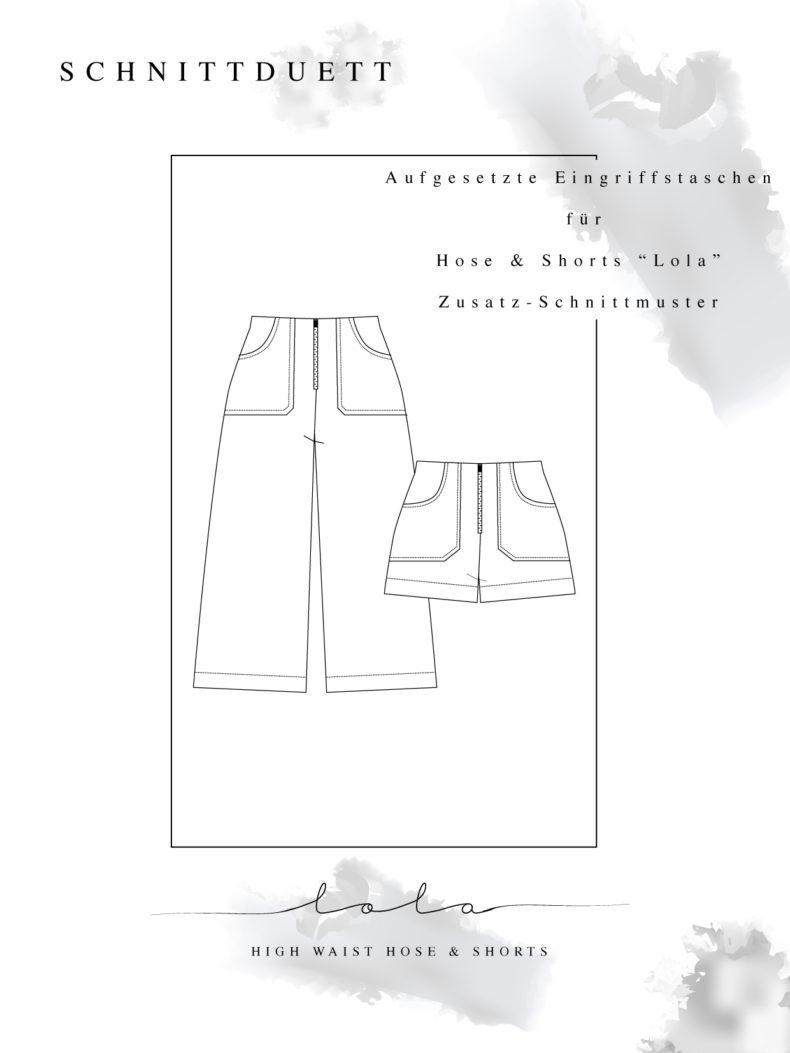 Kostenloses Schnittmuster Add-On: Eingriffstaschen für Schnittmuster High Waist Hose Lola & Shorts - Schnittduett - Moderne Schnittmuster für Damen zum Selbernähen