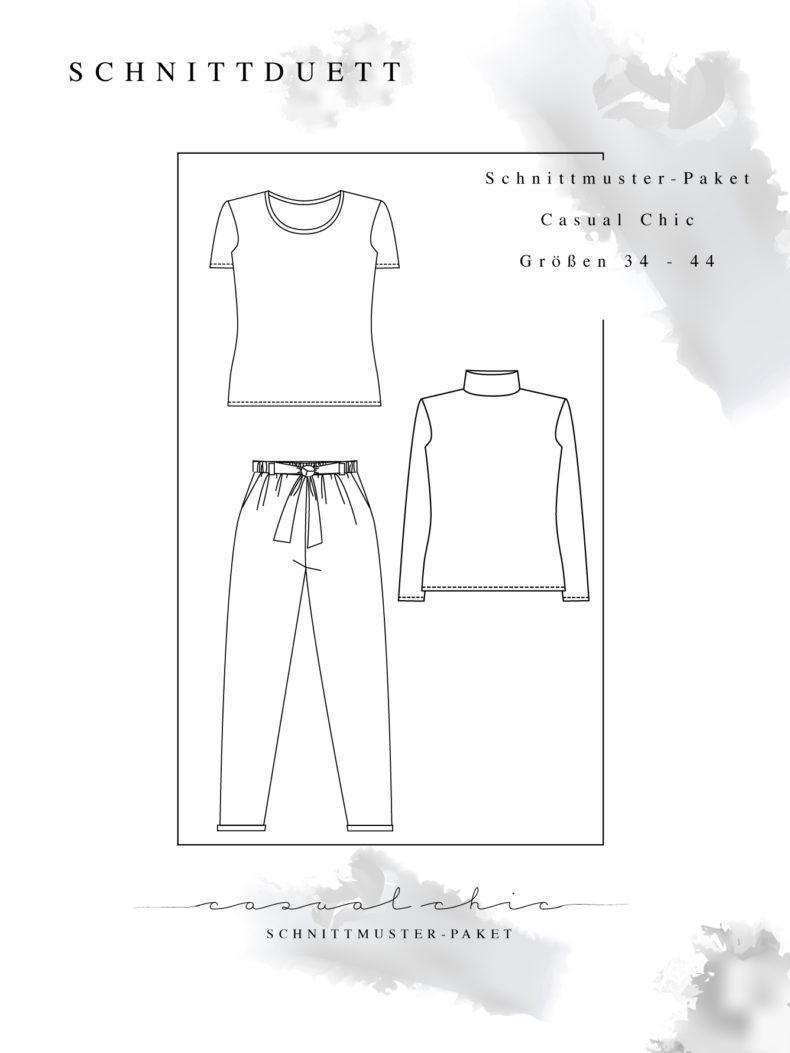 "Schnittmuster Paket ""Casual Chic"" - Schnittmuster Hose Wrapped und Basic Shirts Modular im Set nähen - Schnittduett - Moderne Schnittmuster für Damen zum Selbernähen"