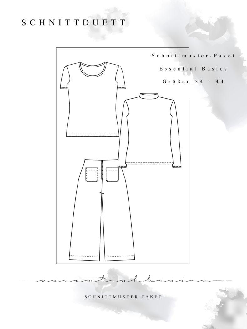 "Schnittmuster Paket ""Essential Basics"" - Schnittmuster High Waist Hose Lola und Basic Shirts Modular im Set nähen - Schnittduett - Moderne Schnittmuster für Damen zum Selbernähen"