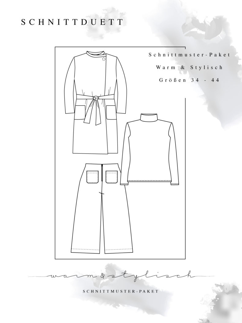 """Schnittmuster Paket """"Warm & Stylisch"""" - Schnittmuster High Waist Hose Lola, Rollkragenshirt Modular und Cardigan Wrapped im Set nähen - Schnittduett - Moderne Schnittmuster für Damen zum Selbernähen"""