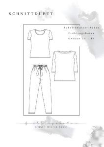 """Schnittmuster Paket """"Frühlingsboten"""" - Schnittmuster Hose Wrapped und Shorts Lola, T-Shirt Modular und U-Boot-Shirt Modular im Set - Schnittduett - Moderne Schnittmuster für Damen zum Selbernähen"""