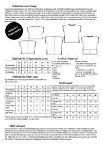 Schnittmuster Blusenshirt Bloom - Produktübersicht wichtige Maße und Informationen zum Blusenshirt nähen - Schnittduett moderne Schnittmuster für Damen