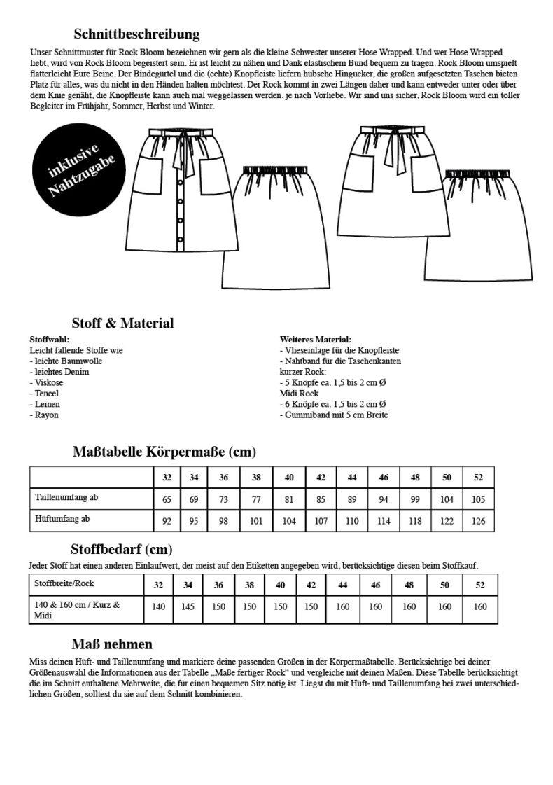 Übersicht Schnittmuster Rock Bloom - Alle Maße und wichtige Informationen um einen Rock mit Knopfleiste zu nähen - Schnittduett