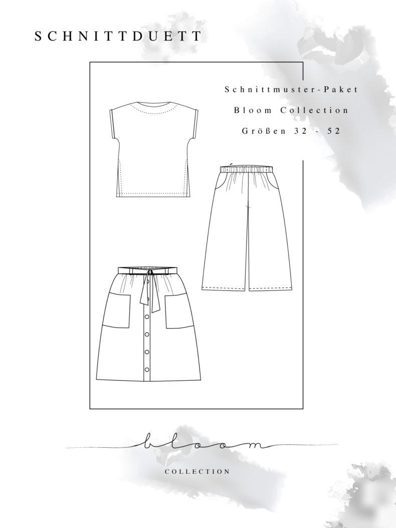 Schnittmuster Culotte, Blusenshirt und Rock Bloom Collection Gesamtpaket zum Vorteilspreis - Capsule Wardrobe nähen - Schnittduett