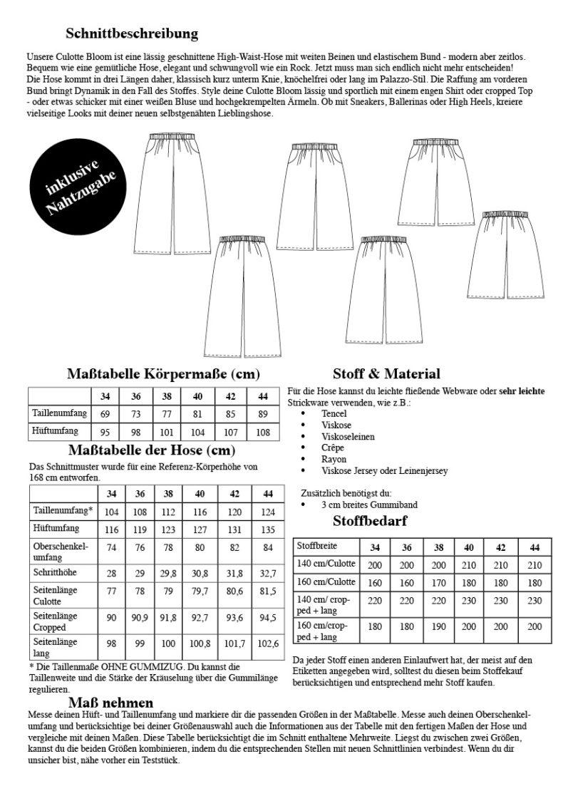 Schnittmuster Culotte Bloom Größe 32 - 52- Übersicht über Maße und wichtige Informationen um die Culotte zu nähen - Schnittduett