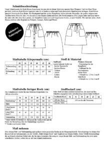 Schnittduett Schnittmuster Rock Bloom - Alle Maße und wichtige Informationen um einen Rock mit Knopfleiste zu nähen