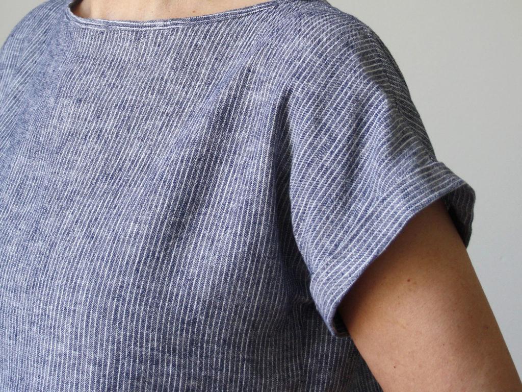 Schnittmuster Blusenshirt Bloom Designbeispiel aus Leinen - Schnittduett moderne Schnittmuster
