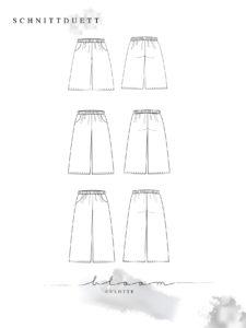 Schnittmuster Culotte Bloom - Culotte nähen - Schnittduett moderne Schnittmuster für Damen
