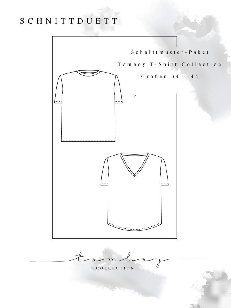 Oversize T-Shirt Schnittmuster für Damen im Set - Schnittmuster T-Shirt mit V-Ausschnitt und Rundhals nähen - Schnittduett moderne Schnittmuster für Damen