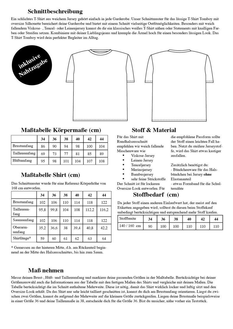 Tomboy Oversize T-Shirt Schnittmuster Damen - Boyfriend T-Shirt mit Rundhals nähen - Schnittduett moderne Schnittmuster