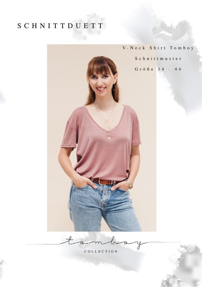 """Oversize T-Shirt nähen - Schnittmuster mit V-Ausschnitt nähen mit dem """"Tomboy"""" Schnittmuster T-Shirt V-Ausschnitt für Damen - Schnittduett moderne Schnittmuster für Damen"""