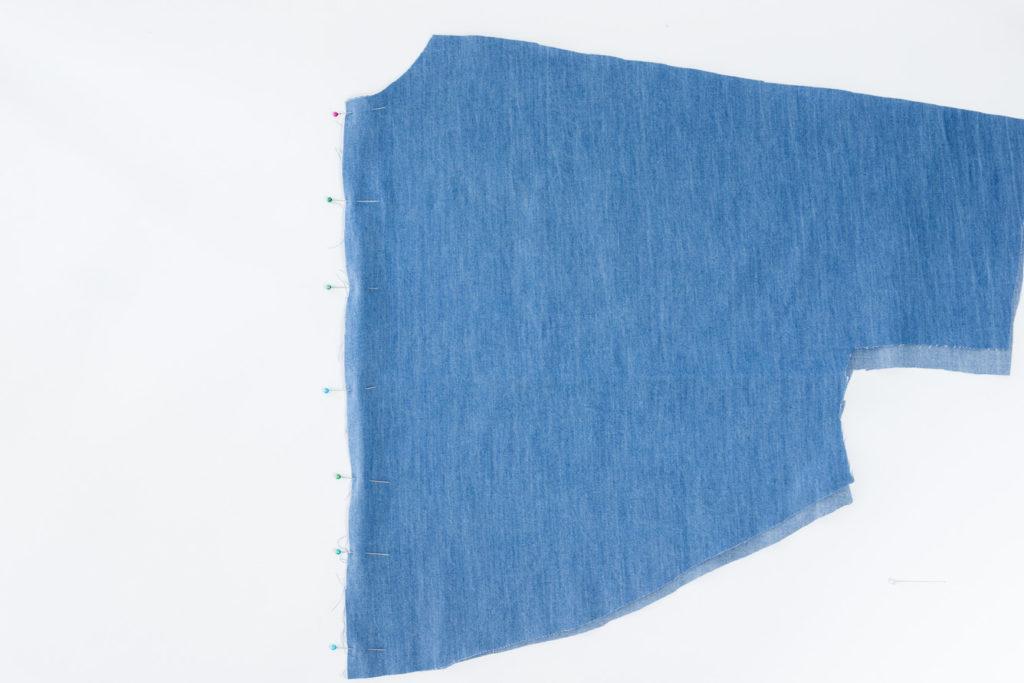 Sew Along Blusenkleid Cocoon Rücken links auf links nähen