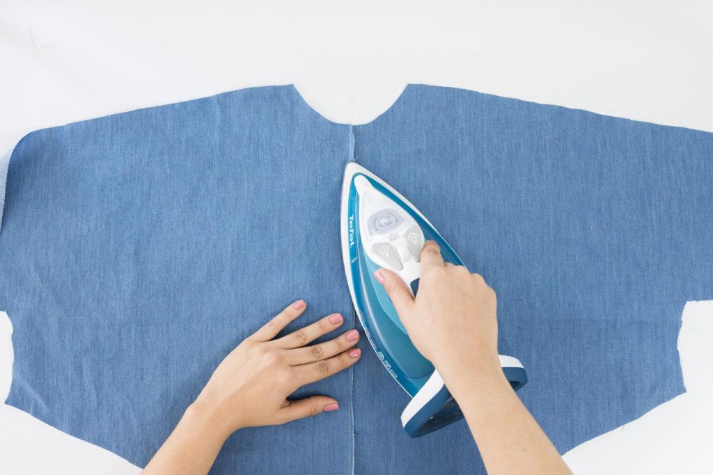 Sew Along Blusenkleid Cocoon Rücken Nahtzugabe bügeln