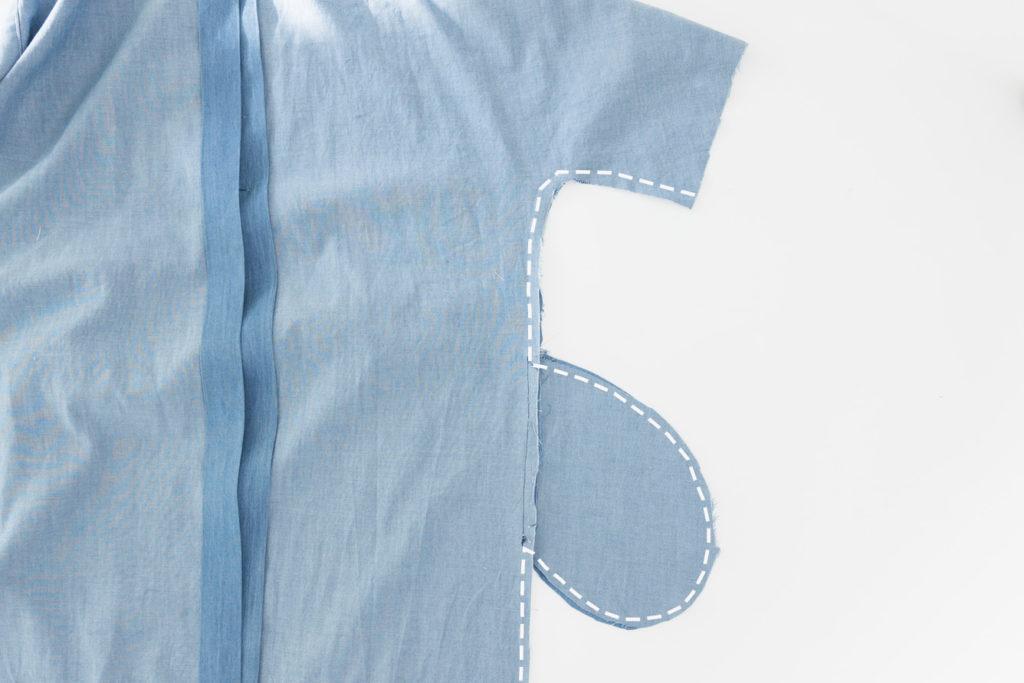 Sew Along Blusenkleid Cocoon Seitennähte schließen