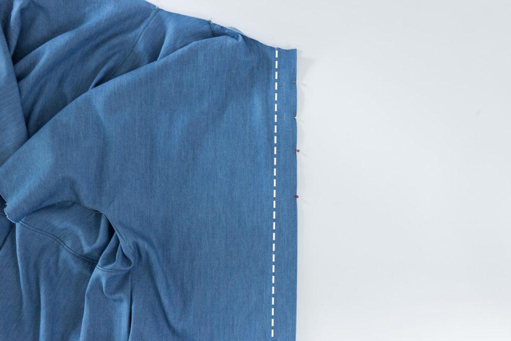 Bluse Cocoon Sewalong Knopfleiste nähen - rechte Knopfleisten nähen