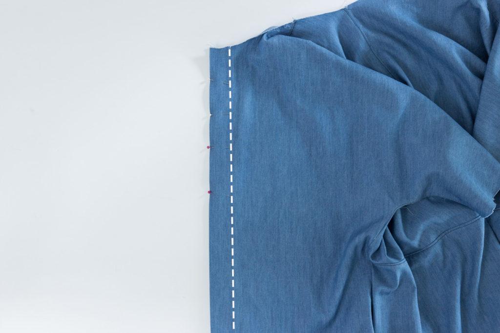 Bluse Cocoon Sewalong Knopfleiste nähen - linke Knopfleiste nähen