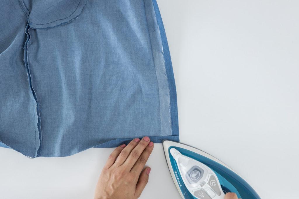 Bluse Cocoon Sewalong Knopfleiste nähen: Knopfleiste aufklappen