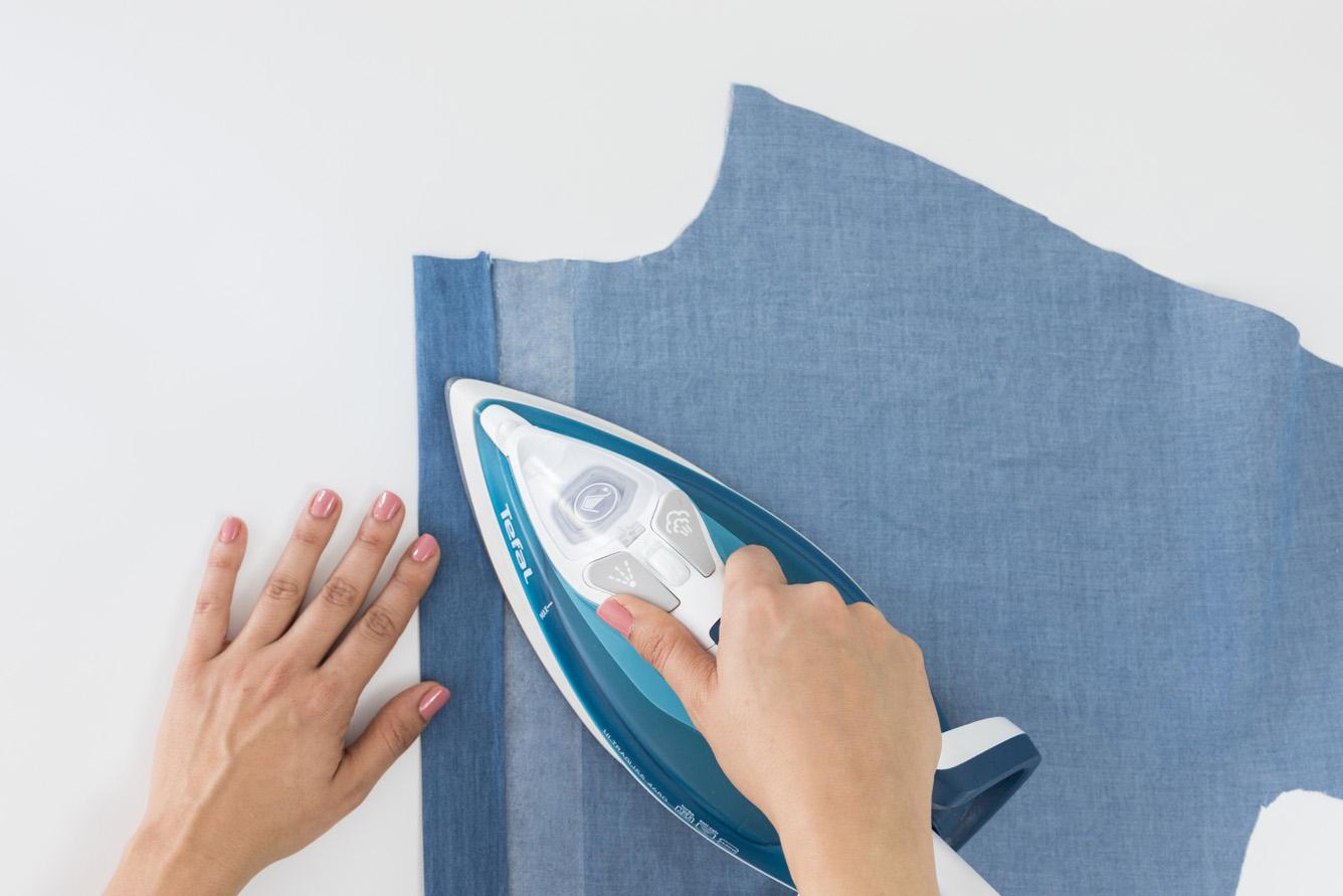 Cocoon Bluse und Blusenkleid nähen - Knopfleiste vorbereiten - Schnittduett Sewalong