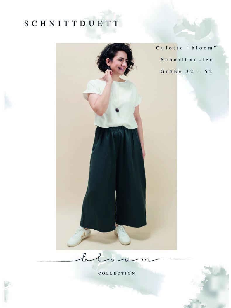 Schnittmuster Culotte Größen 32 - 52 -Bloom in drei Längen - Trendige Culotte nähen mit ausführlicher Nähanleitung - Schnittduett moderne Schnittmuster für Damen
