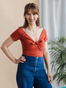 Escapade Schnittmuster Carmenshirt mit Knoten mit 3/4 oder kurzem Arm
