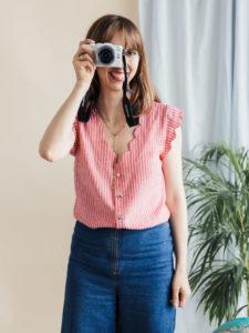 Escapade Schnittmuster Bluse mit V-Ausschnitt und Bogenkante - Schnittduett