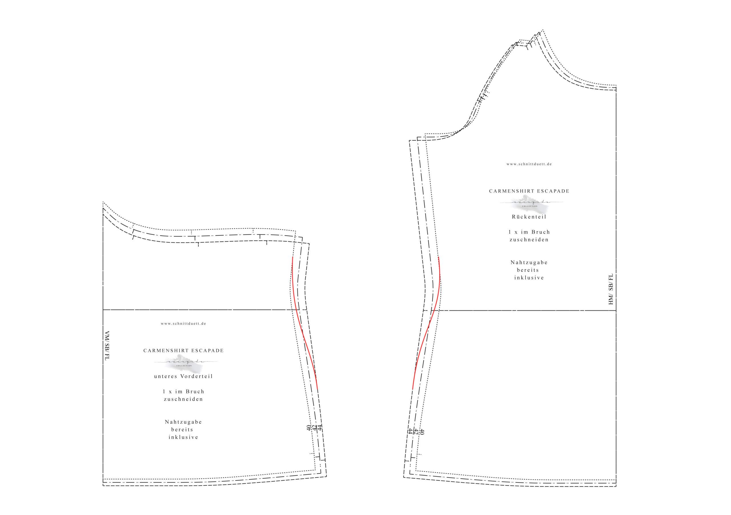 Escapade Carmenshirt anpassen - zwischen Größen gradieren