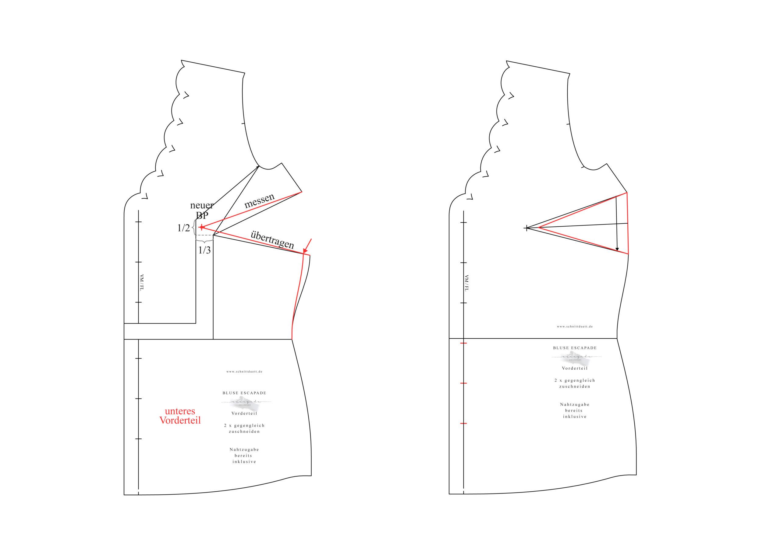 Schnittmuster Bluse anpassen: Full Bust Adjustment - Schnittduett